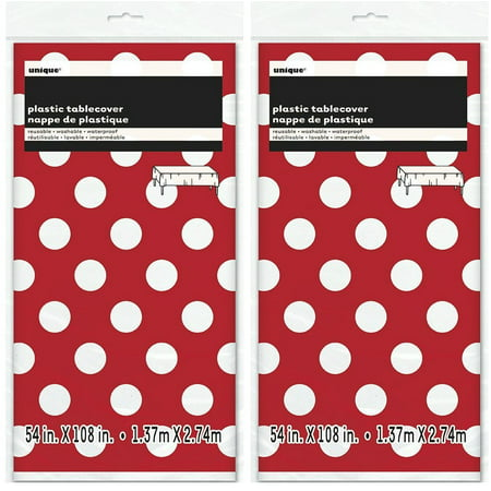 2 Pack Polka Dot Plastic Tablecloth, 108 x 54, Red with White dots By MSS](Black Polka Dot Table Cover)