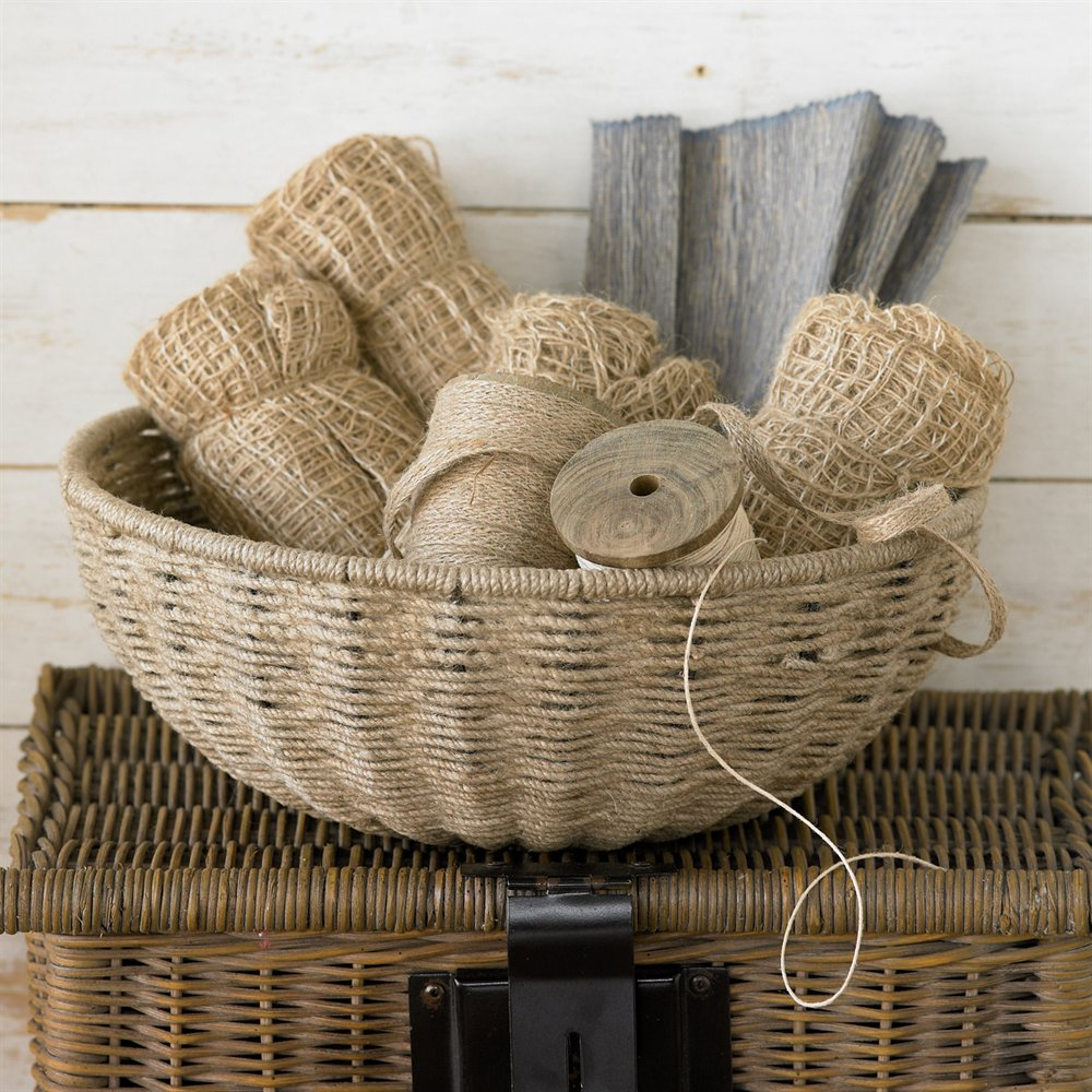 Kindwer 14-in Woven Jute Rope Basket with Iron Frame