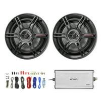 "2 x Crunch CS693 6x9"" 3-Way Car Speaker (Black) (2 pairs), Enrock Marine/Outdoor 4-Channel Marine Amplifier, Enrock Audio 18 AWG Gauge 50 Feet Speaker Wire Cable"