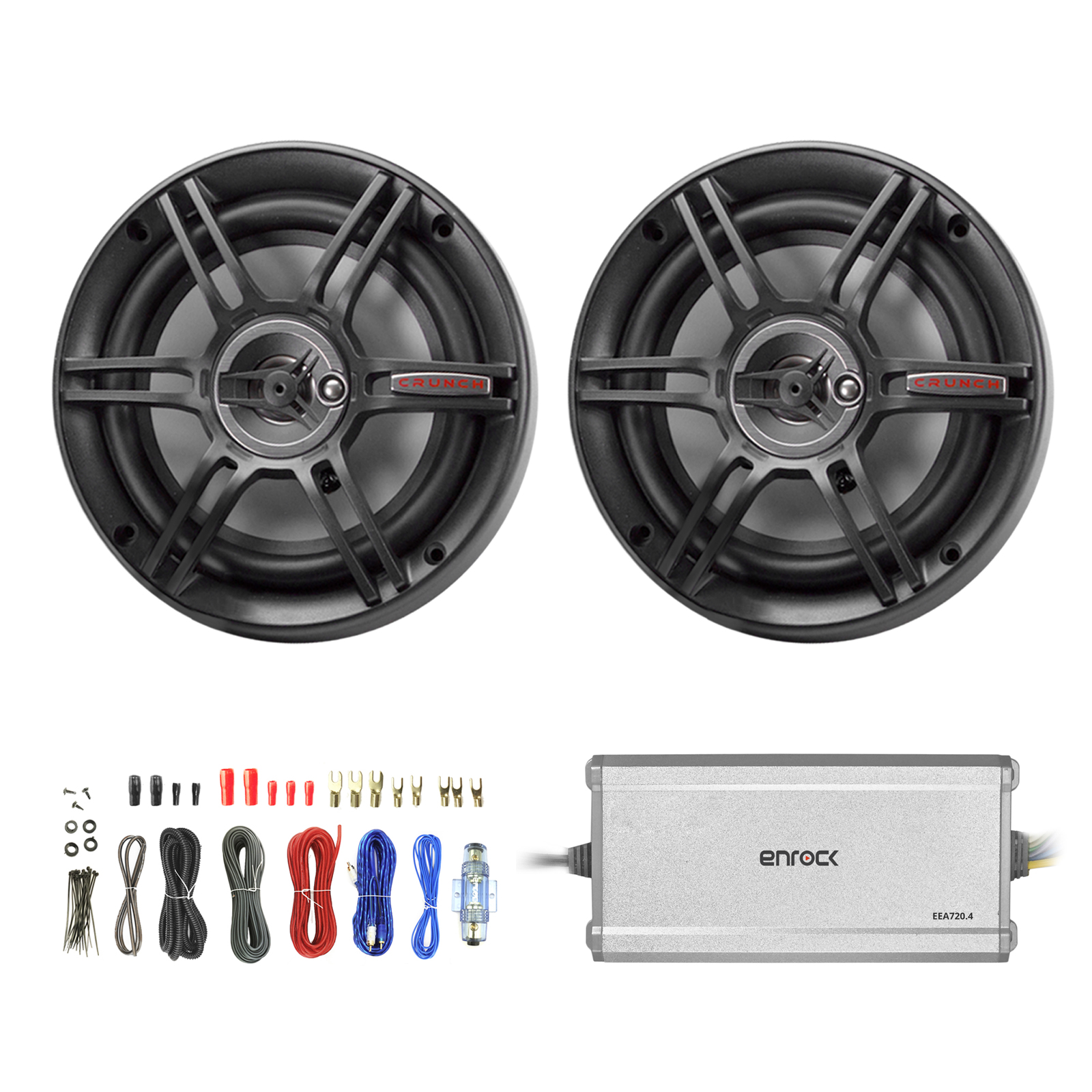 "2 x Crunch CS693 6x9"" 3-Way Car Speaker (Black) (2 pairs), Enrock Marine/Outdoor 4-Channel Marine Amplifier, Enrock Audio 18 AWG Gauge 50 Feet Speaker Wire Cable"