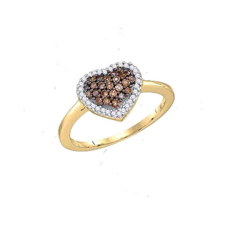 10kt Yellow Gold Womens Round Cognac-brown Colored Diamond Heart Love Ring 1/3 Cttw