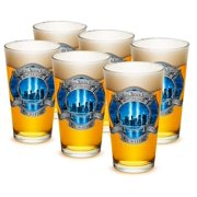 Fire 16 oz. Pint Glass 911 Firefighter Blue Skies (Case of 24) by Erazorbits
