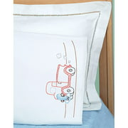 Jack Dempsey Old Truck Friend Children's Stamped Pillowcase With White Perle Edge