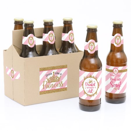 Beer Babe (Little Princess Crown - 6 Pink and Gold Princess Baby Shower or Birthday Party Beer Bottle Label Stickers and 1)