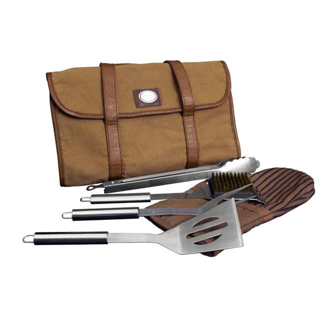 Canyon Outback Leather T590B BBQ Tool Set Bag, Dark Tan