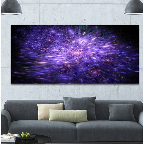 Design Art 'Purple Fireworks on Black' Graphic Art Print on Wrapped Canvas