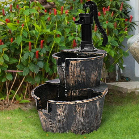 Gymax 2 Tier Barrel Waterfall Fountain Barrel Water Fountain Pump Outdoor Garden