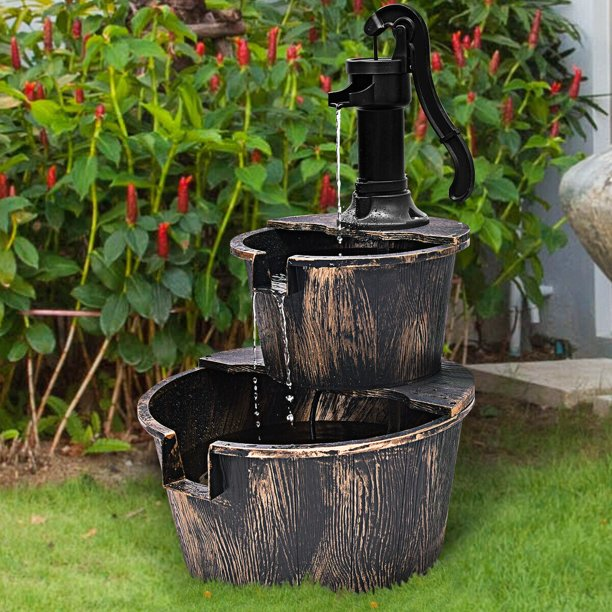 Gymax 2 Tier Barrel Waterfall Fountain Barrel Water Fountain Pump Outdoor Garden Walmart Com Walmart Com