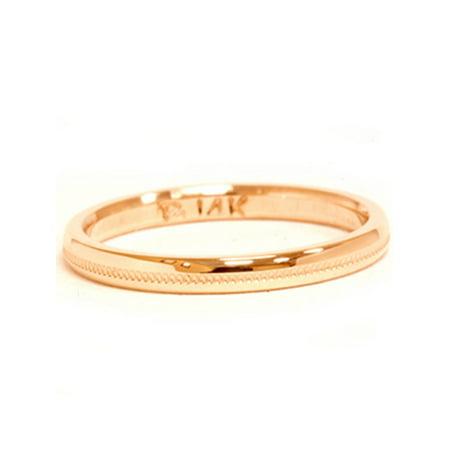 2mm 14K Yellow Gold Milgrain Polished Wedding Band Ring
