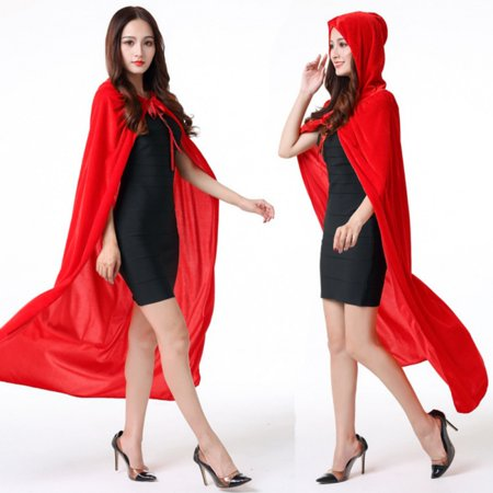 Velvet Cloth Death Cloak Cosplay, Hooded Cloak Adult Halloween Accessory, Adult Halloween Cape Hooded Cloak Fancy Dress Deluxe Gothic Robe, Dark Lair Cloak Adult Costume Red 150/L