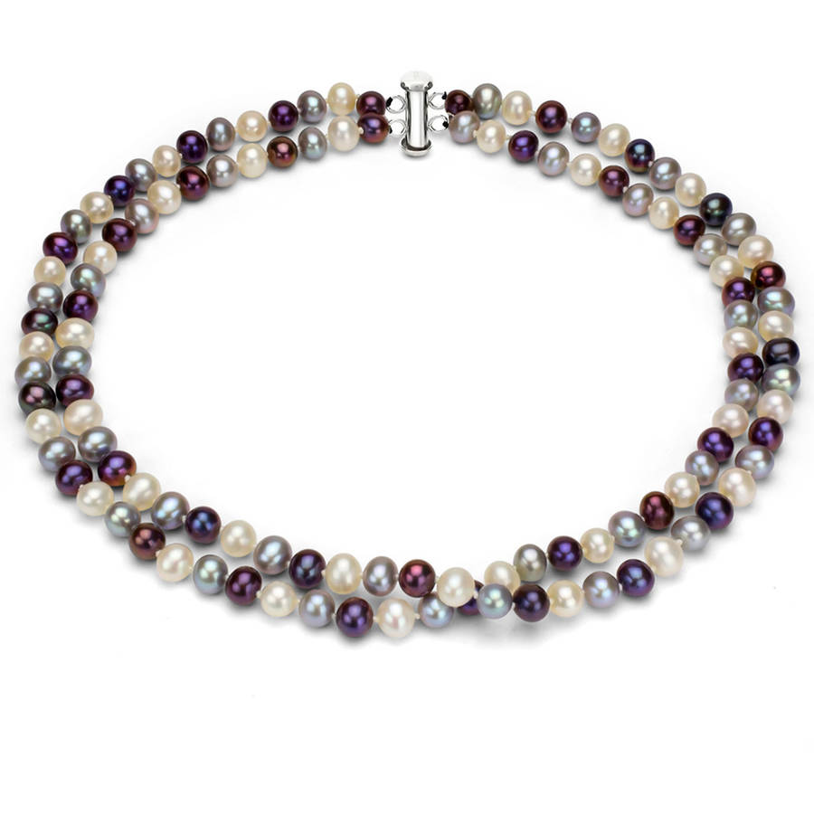 """Image of Dark Multi-Color Freshwater Pearl Necklace for Women, Sterling Silver 2 Row 17"""" & 18"""" 7x8mm"""