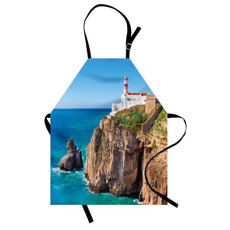 Seaside Rocks - Lighthouse Apron Daytime Rocky Lighthouse Shore Seaside Rocks Building Cliff Sunny Day Clear Sky, Unisex Kitchen Bib Apron with Adjustable Neck for Cooking Baking Gardening, Multicolor, by Ambesonne