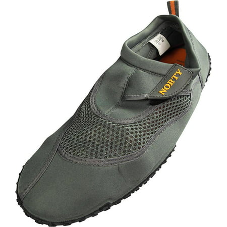 Norty Mens Big Sizes 13-15 Mens Water Shoes for the beach - Waterproof Slip Ons for Pool, Beach and Sports. Extra Size, Extended size, King size Aqua Sock Water Shoes for Big and Tall Men. 3' Firepower Slip Ons
