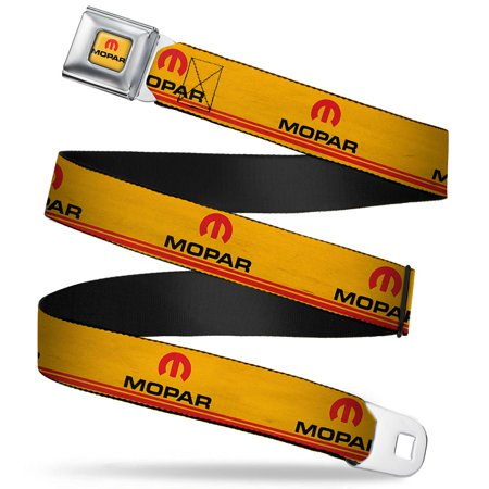 MOPAR Logo Double-Stripe Vintage Gold/Red/Black Webbing - Seatbelt Belt Regular