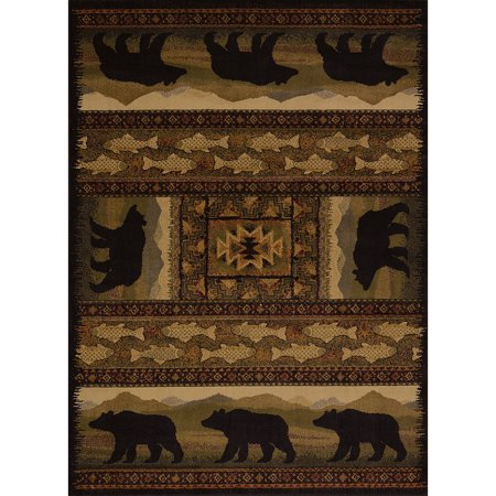 United Weavers Essence Kodiak Lodge Black Woven Polypropylene Area Rug