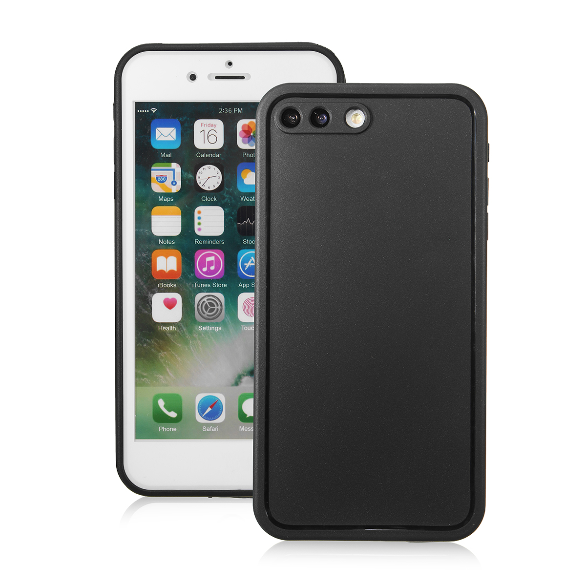 iPhone 8 Plus Case Cover Waterproof Dust Shockproof Hybrid Case PET+PC+TPU Full Cover Protector Clear Black
