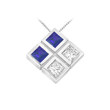 Blue Sapphire and Diamond Pendant 14K White Gold 1.00 CT TGW - image 1 of 2