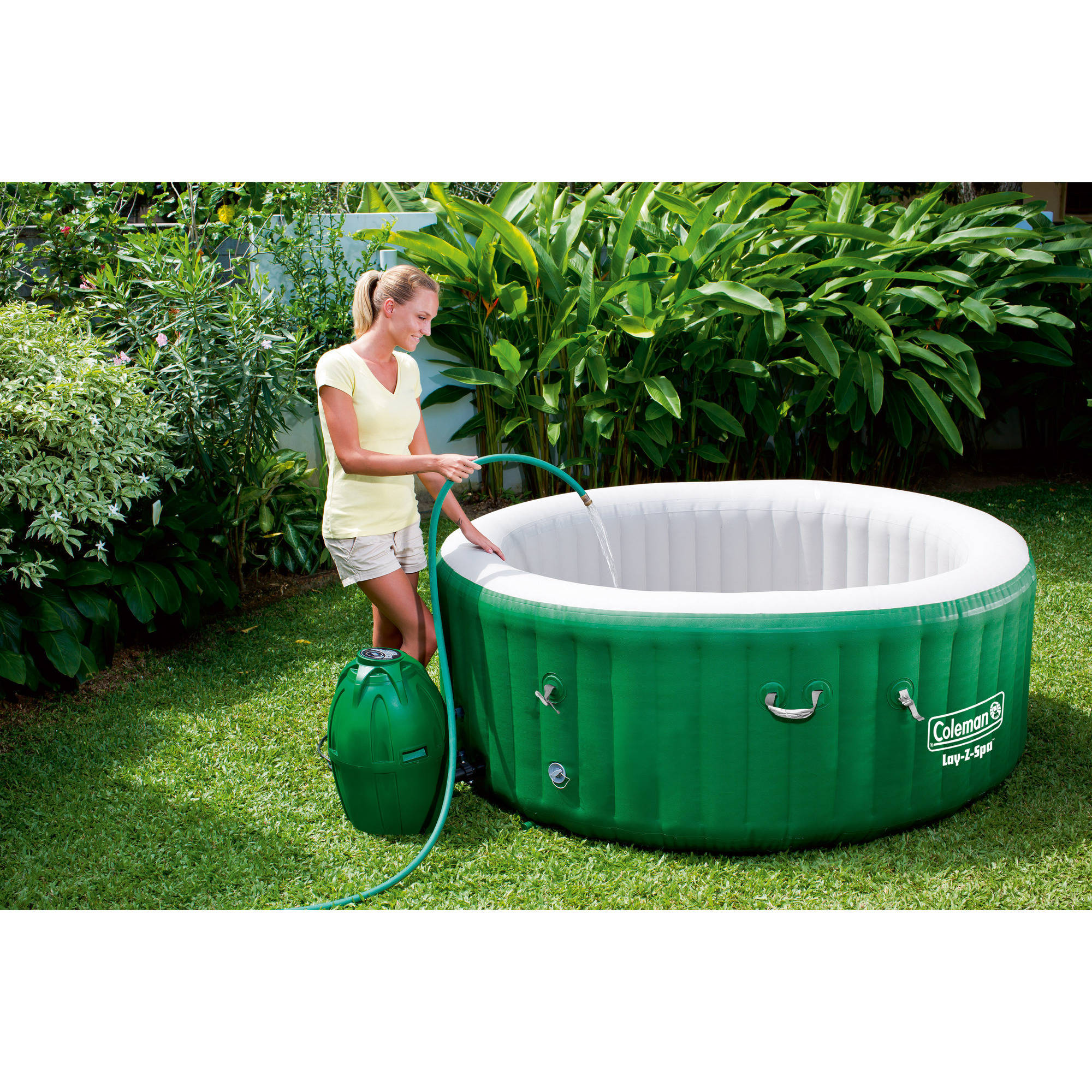 Coleman lay z spa inflatable hot tub bubble jacuzzi set for Types of hot tubs