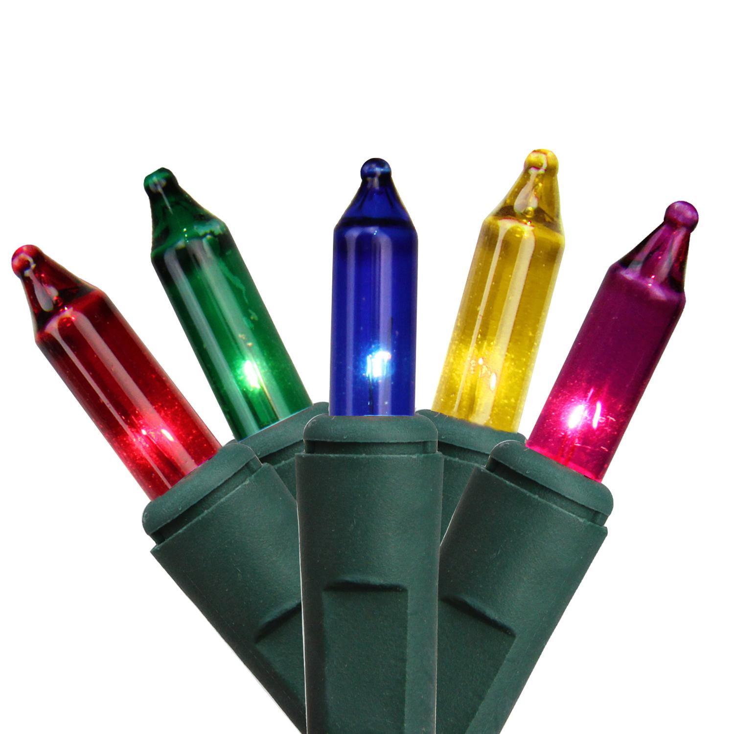 """Set of 100 Multi-Color Mini Christmas Lights 4.25"""" Spacing - Green Wire"""