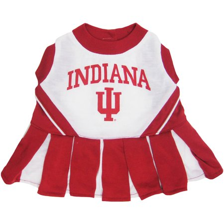Pets First College Indiana Hoosiers Cheerleader, 3 Sizes Pet Dress Available. Licensed Dog - Seal Outfit For Dogs