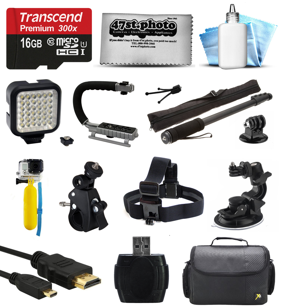Bundle for GoPro Hero4 Hero3+ Hero3 Hero2 Camera with 16GB Card, LED Light, Handgrip, Selfie Pole, Handlebar Mount, Helmet Strap, Car Mount, Premium Case, HDMI Cable, Floating Bobber, Cleaning Kit