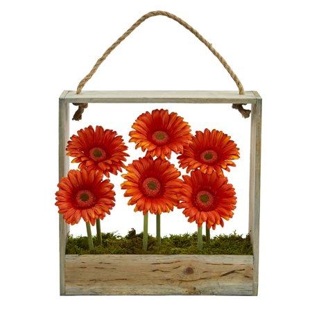 Nearly Natural Gerber Daisy Garden Artificial Arrangement in Hanging Frame - (Orange Gerber Daisy)