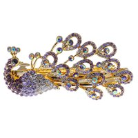 Womens Gold Tone Ombre Purple Rhinestones Peacock Bird Hair Piece Clip