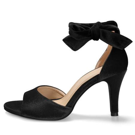 1c05d741016 Unique Bargains Women's Stiletto Heel Velvet Lace Up Sandals Black ...