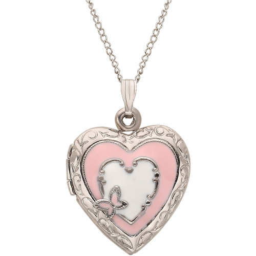 """Sterling Silver with Pink and White Enamel Heart Locket Pendant, 18"""""""