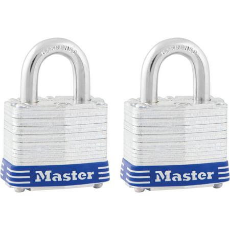 Master Lock, MLK3T, High Security Padlock, 2 / Pack, Silver