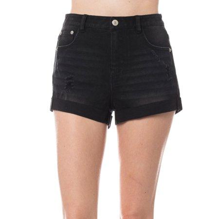KOGMO Womens Distressed Denim Shorts Folded Hem (Best Way To Fold Shorts)