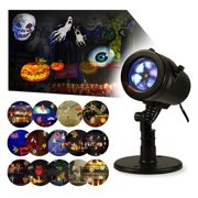 Christmas Lights Projector Outdoor Indoor Halloween Decorations Waterproof LED Landscape Spotlight for Xmas Theme Party Store Window and Garden, 14 Patterns, UL Listed, YG-FL02