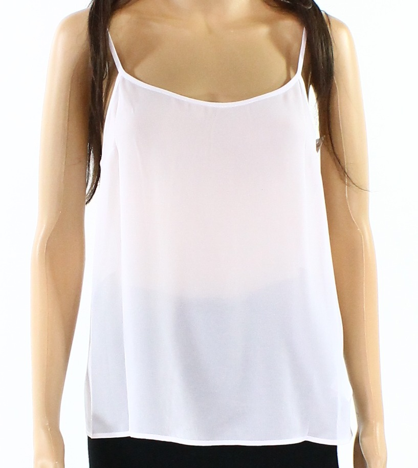 Designer NEW White Womens Size Small S Solid Sheer Seamed Cami Top