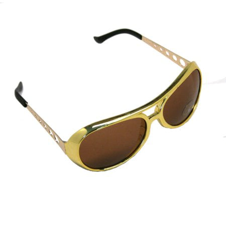 Classic SL TCB Elvis Celebrity Style Aviator Gold Sunglasses Great For Parties and Costumes (Celeb Sunglasses)