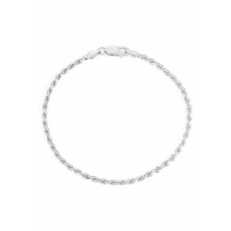 """Sterling Silver Diamond-Cut Rope Bracelet, 7.5"""""""