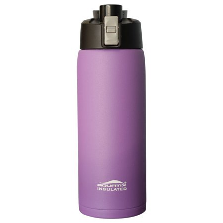 Aquatix (Purple, 21 Ounce) Pure Stainless Steel Double Wall Vacuum Insulated Sports Water Bottle with Convenient Flip Top - Keeps Drinks Cold for 24 Hours, Hot for 6 - Aqualux Water