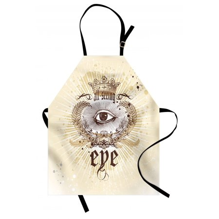 Eye Apron Artistic Vintage Emblem Eye Victorian Laurel Branches Crown Calligraphy, Unisex Kitchen Bib Apron with Adjustable Neck for Cooking Baking Gardening, Pale Yellow Brown White, by Ambesonne