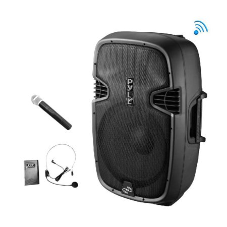 Cordless and Portable BT PA Speaker, Active-Powered Loudspeaker System, FM Stereo Radio, Built-in Battery, USB/SD Readers, Includes Handheld Microphone, Recorder, FM Radio, 1000 Watt, 10in Subwoofer