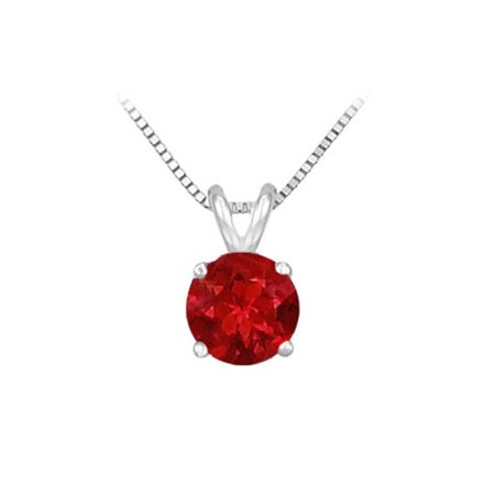 Fine Jewelry Vault UBPD14WH4RD050R 14K White Gold Prong Set Natural Ruby Solitaire Pendant 0.50 CT TGW