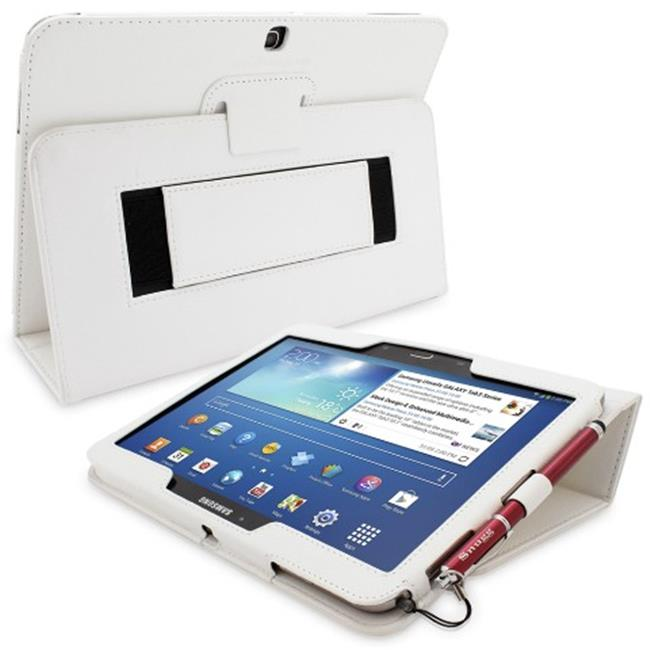 Snugg B00EQ7769Q Galaxy Tab 3 10. 1 Case Cover and Flip Stand, White Leather