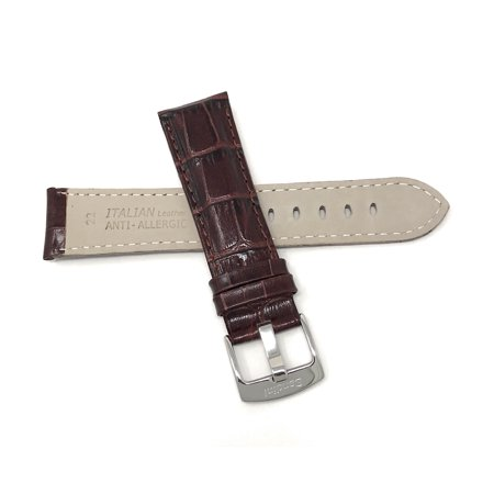 20mm Mens' Alligator Style Leather Watch Band Strap, Glossy Finish, Stainless Steel Buckle - image 2 de 7