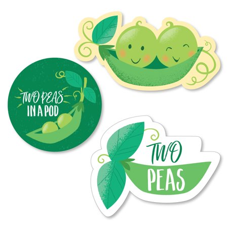 Double the Fun - Twins Two Peas in a Pod - DIY Shaped Baby Shower or First Birthday Party Cut-Outs - 24 Count - Double Nickel Birthday