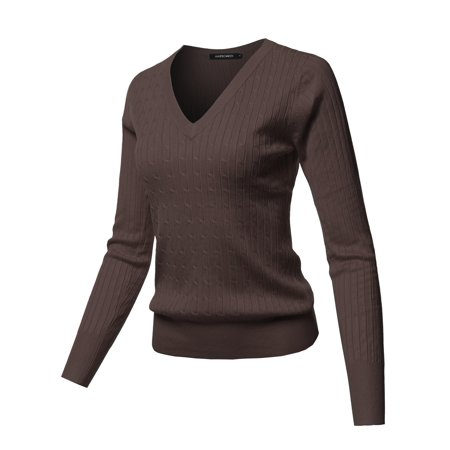 FashionOutfit Women's Solid V-Neck Long Sleeve Viscose Nylon Cable Knit Sweater (Cable Long Sleeve V-neck Sweater)