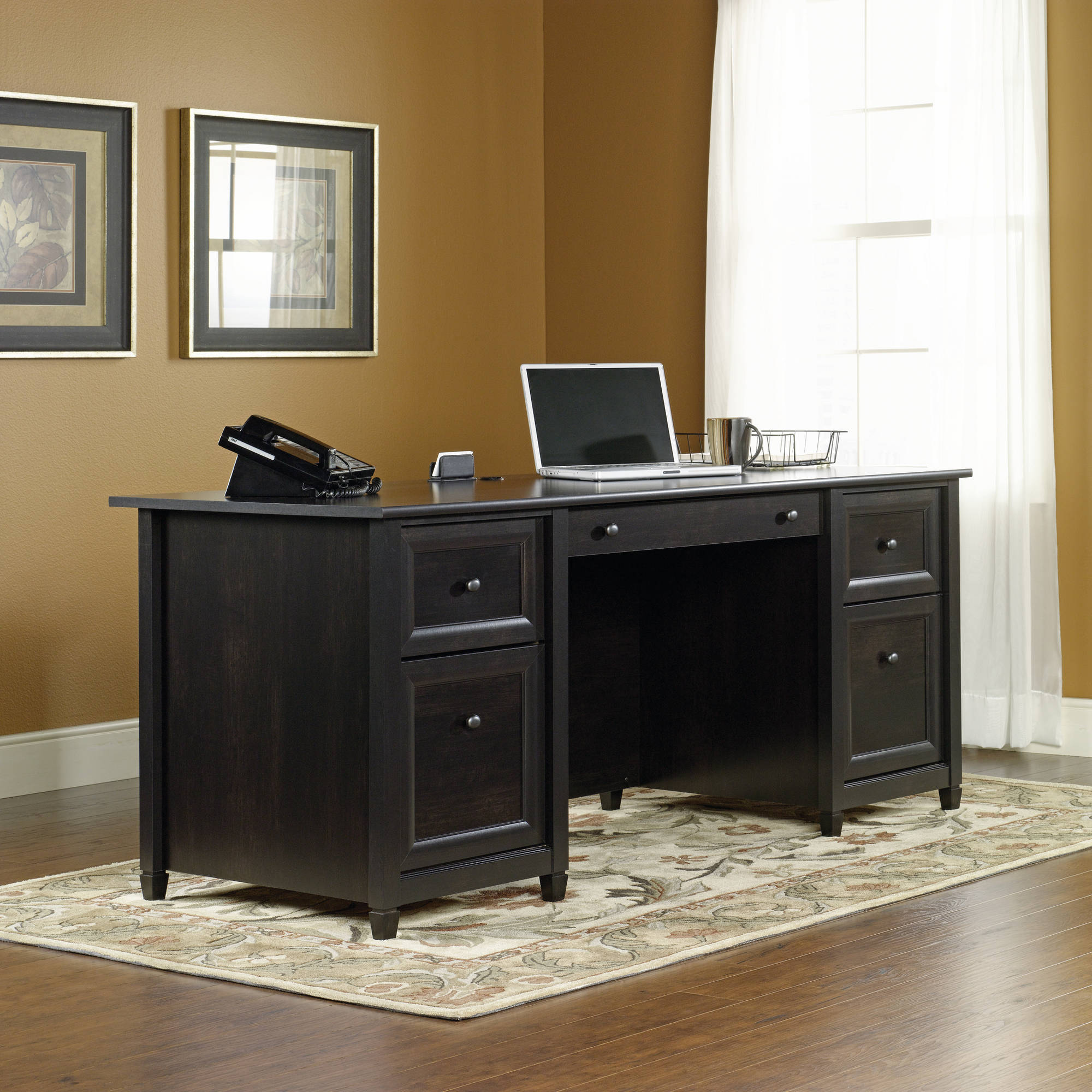 Sauder Edge Water Executive Desk, Estate Black