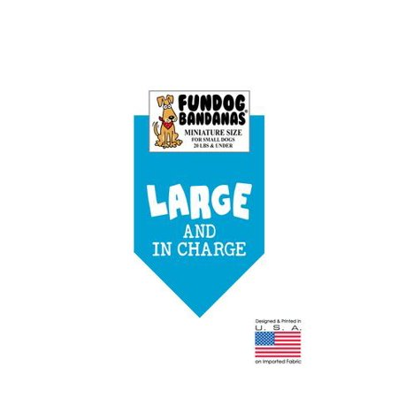 MINI Fun Dog Bandana - LARGE & IN CHARGE - Miniature Size for Small Dogs under 20 lbs, turquoise pet - Large Bandanas