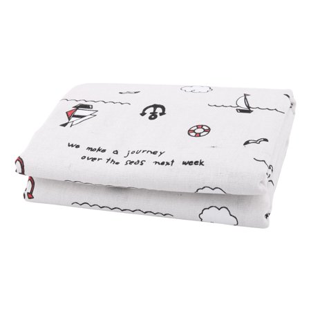 Family Linen Boat Pattern Table Sofa Cover Handbag Art Craft DIY Cloth 1.55 x 1M