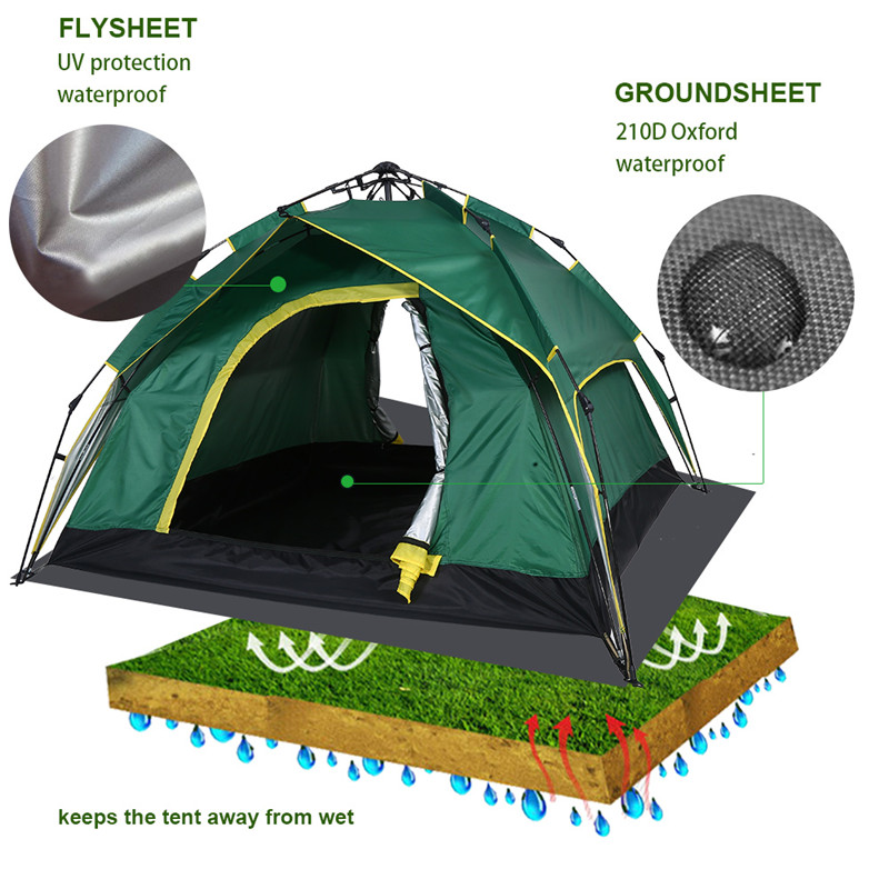 3-4 Persons Outdoor Double Layer Hydraulic Automatic Instant Double layer Waterproof Camping Tent