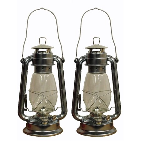 Lot of 2 - 12 Inch Silver Hurricane Kerosene Lantern Light Table Decorative Lamp