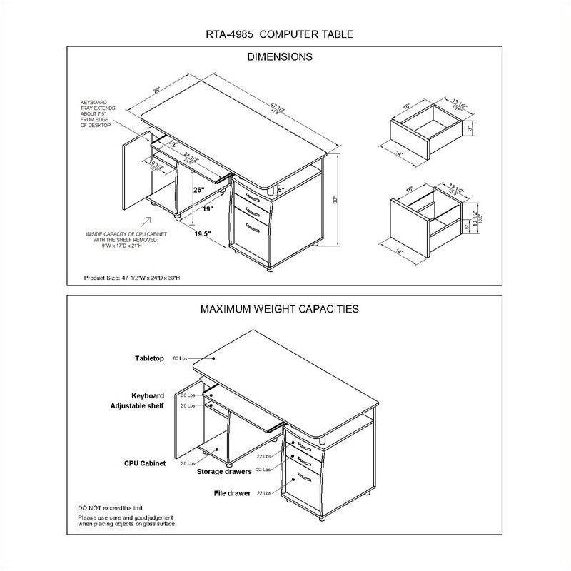 Pemberly Row Super Storage Computer Desk in Chocolate Finish - image 3 de 8