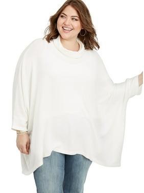 Plus Size Kimono Cowl Neck Poncho